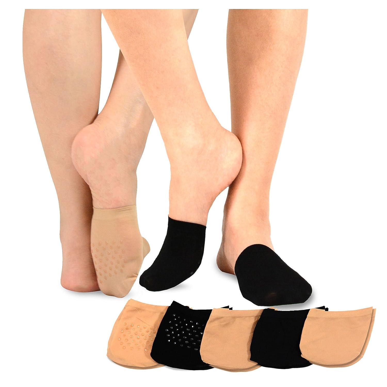 TeeHee Womens Seamless Toe Topper Liner Socks 5-Pack with Non-Skid Bottom S/11785-5N01_BGE