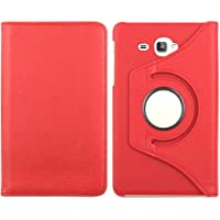 "TEZK® for Samsung Galaxy Tab J Max / Tab A 7.0"" 7-Inch Tablet SM-T280 / SM-T285 PU Leather Rotating Folio Flip Cover case (Red)"