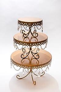Opulent Treasures Loopy Cakes Chandelier Cake Plates Dessert Stands Set of 3 (Bronze Gold)