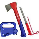 WORKPRO Camping Axe Saw Combo Kit - 14-inch Splitting Hatchet with Hand Saw Storaged in Handle, Molded Sheath Included