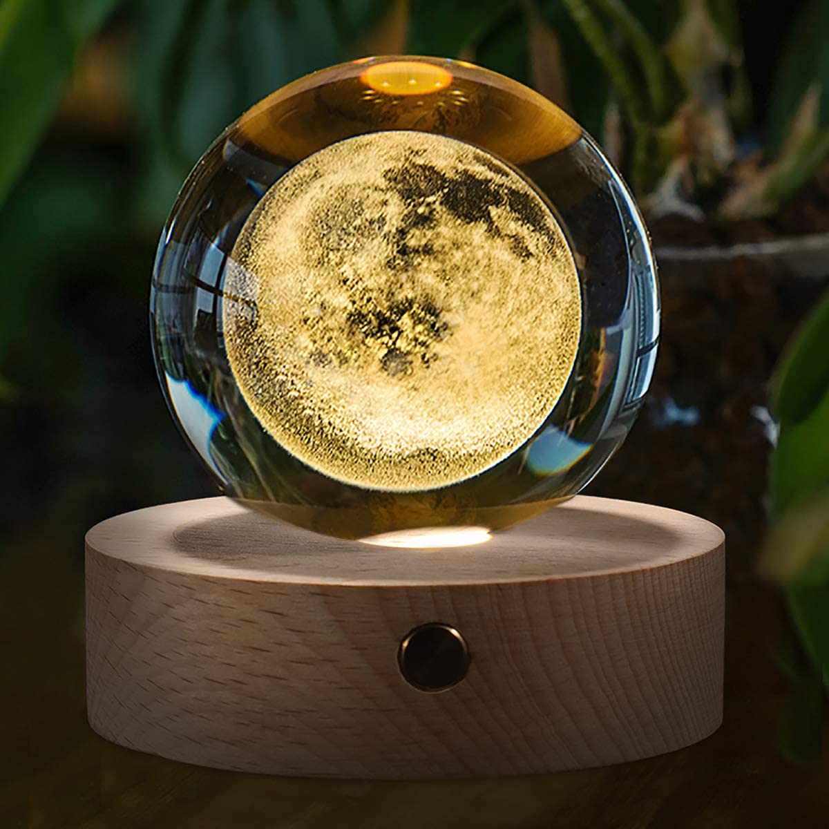 Moon Crystal Ball Stand(3.15inch), 3D Crystal Ball with Led Light, K9 Clear Crystal Ball for Home Decoration