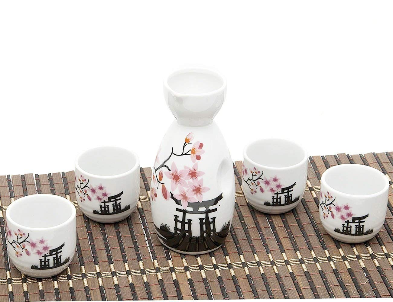 5 Piece Japanese Sake Cup Set Hand Painted Cherry Blossoms Flower Design Porcelain Pottery Traditional Ceramic Cups Crafts Wine Glasses B078MFKMPL
