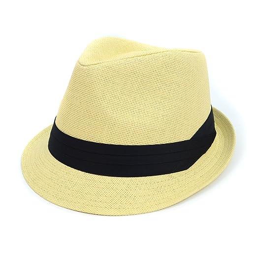 0bc038cf0fc Men   Women Summer Fedora Hat with Black Band at Amazon Men s Clothing  store