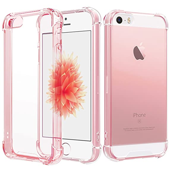 size 40 f5241 64e0c for iPhone SE Case/iPhone 5 Case/iPhone 5S Case, MoKo Crystal Clear  Reinforced Corners TPU Bumper and Anti-Scratch Shockproof Transparent Back  Panel ...
