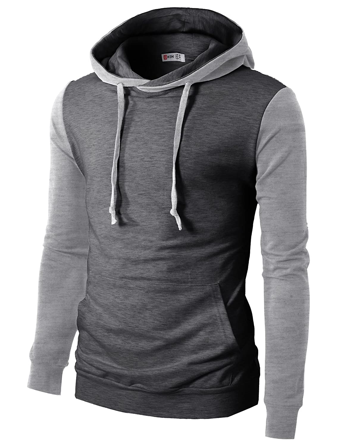 H2H Mens Casual Slim Fit Long Sleeve Color Block Hoodie V- Design line CMTTL074