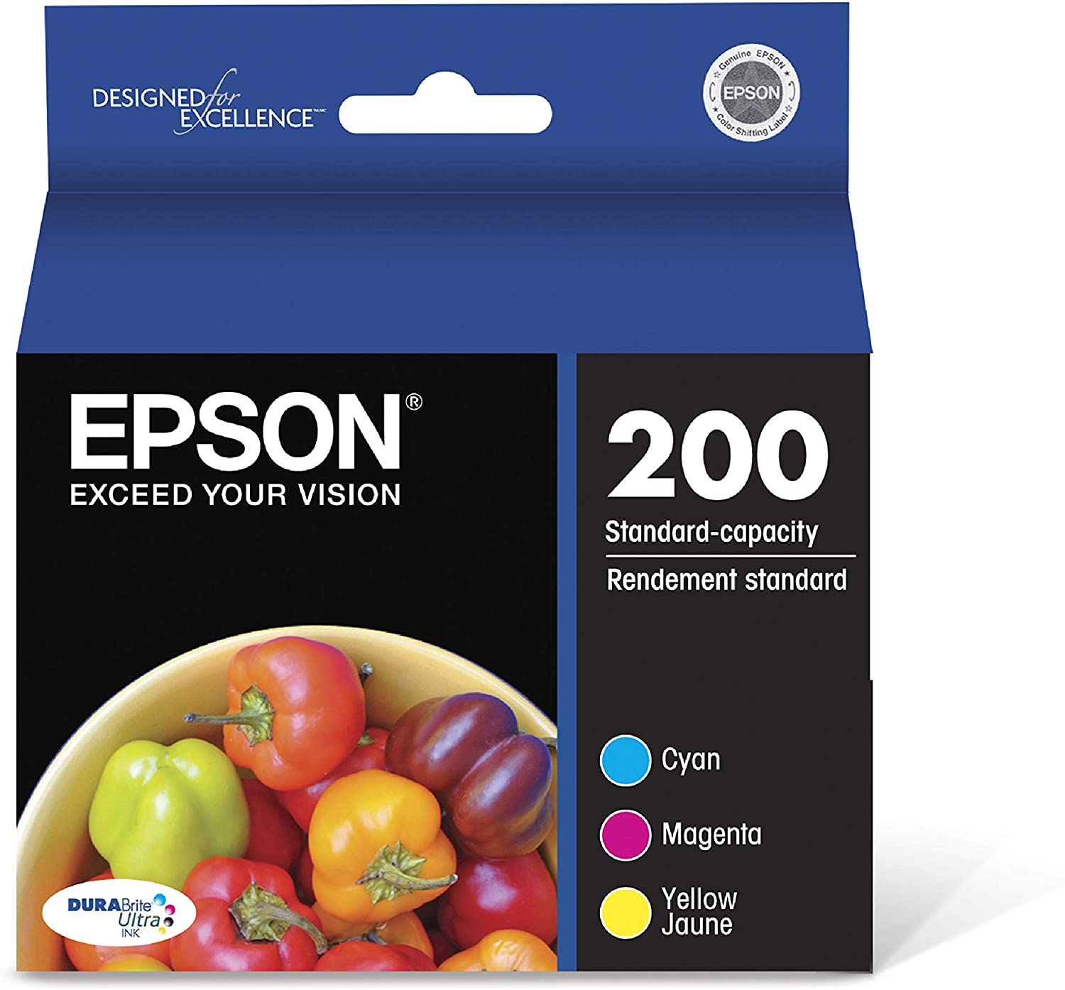 Epson T200520 DURABrite Ultra Ink Color Combo Pack, Standard Capacity Cartridges, Cyan, Magenta, Yellow