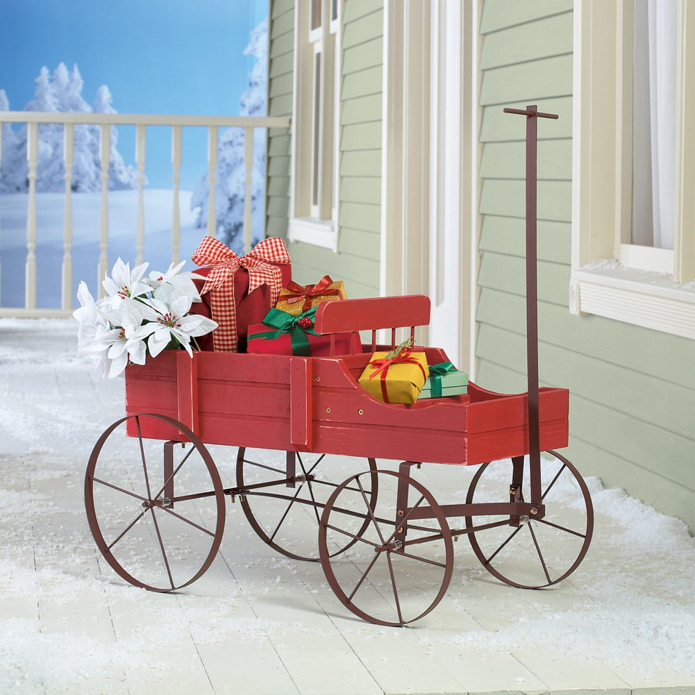 Amish Wagon Decorative Indoor/Outdoor Garden Backyard Planter, Red by Collections Etc (Image #3)