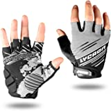LYCAON Bike Riding Cycling Gloves Half Finger Gloves Non-slip Gel Pad EVA Cushion Breathable Elastic Durable Mountain Bike MTB BMX Road Bike Fingerless Bicycle Cyclist Biker Working Gloves Men Women