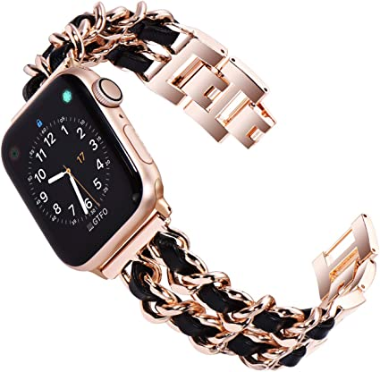 Kades Edelstahl Armband Kompatibel Für Apple Watch Se Series 6 Series 5 Series 4 44mm Frauen Link Armband Kompatibel Für Iwatch Series 1 2 3 42mm Roségold Mit Schwarzem Leder Elektronik
