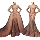 Rudina Detachable Champagne Mermaid Wedding Dresses 2018
