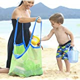 Extra Large Mesh Beach Bag Tote Backpack Toys Towels Sand Away,Perfect for Holding Childrens' Toys