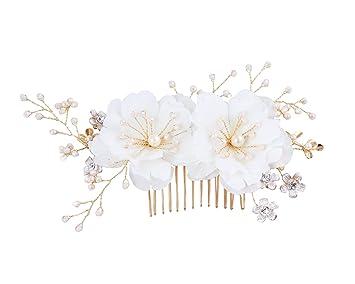 Amazon meiysh handmade bridal silk flower hair comb with beads meiysh handmade bridal silk flower hair comb with beads and simulated pearl l bridal headpiece wedding mightylinksfo