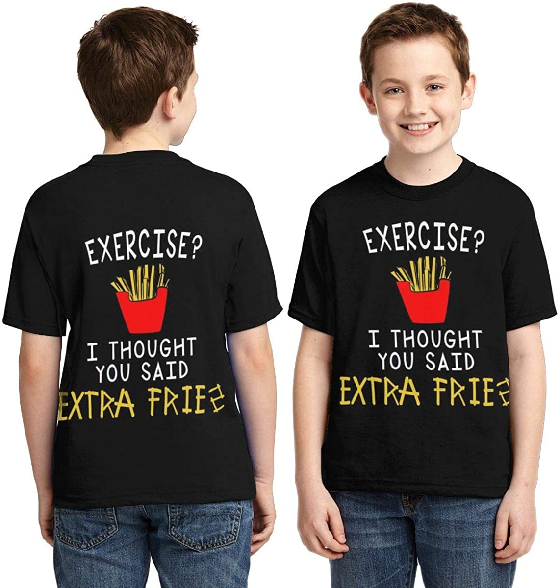 Traci StoneN Kid//Youth Exercise I Thought Said Extra Fries T-Shirts 3D Print Short Sleeve Graphics Tees for Boys