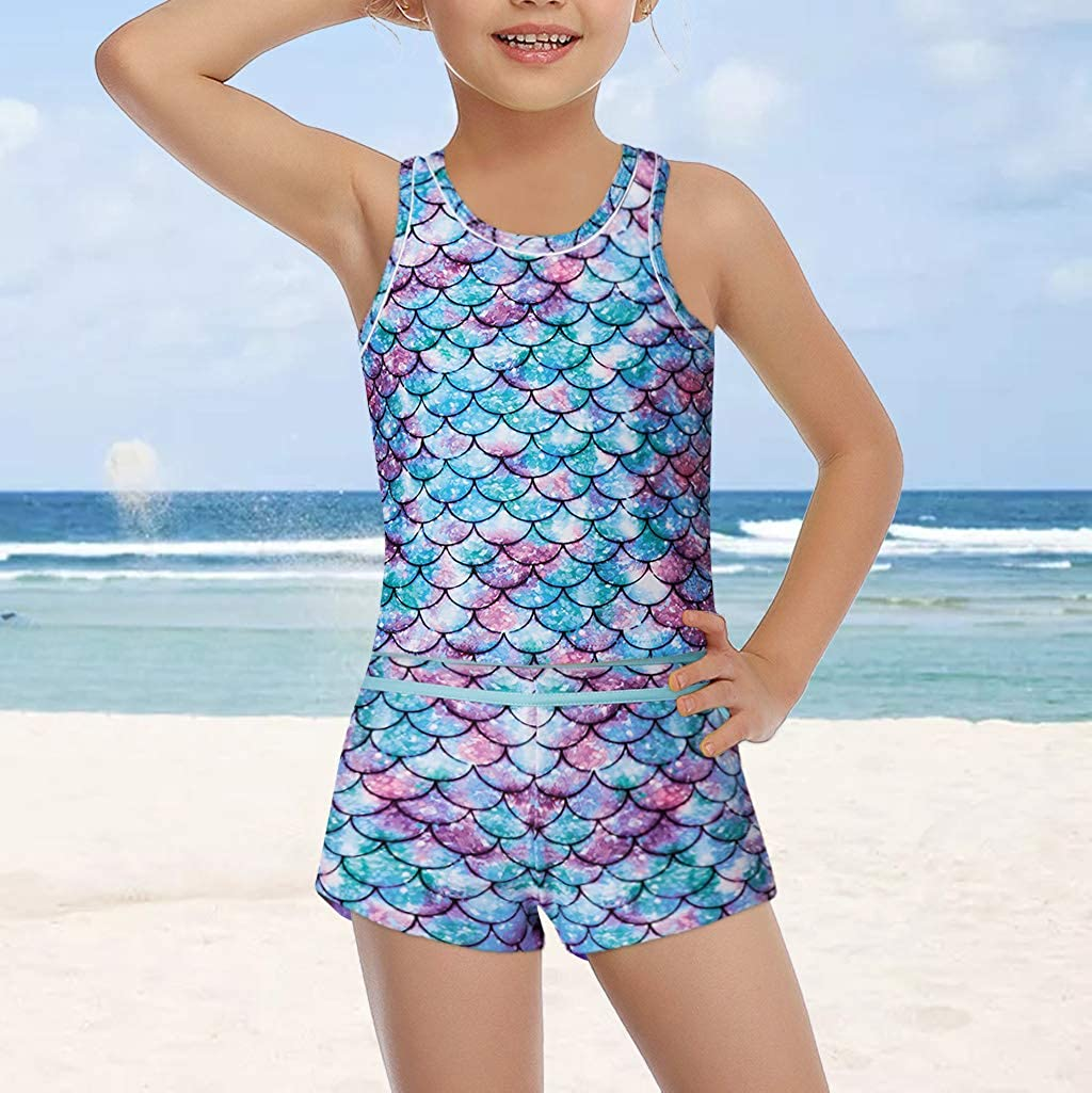 Girls Kids Summer One//Two Piece Swimwear Boyshort Tops Tankini Swimsuit Bathing
