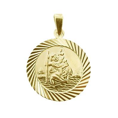 9ct White Gold Small Round Saint Christopher
