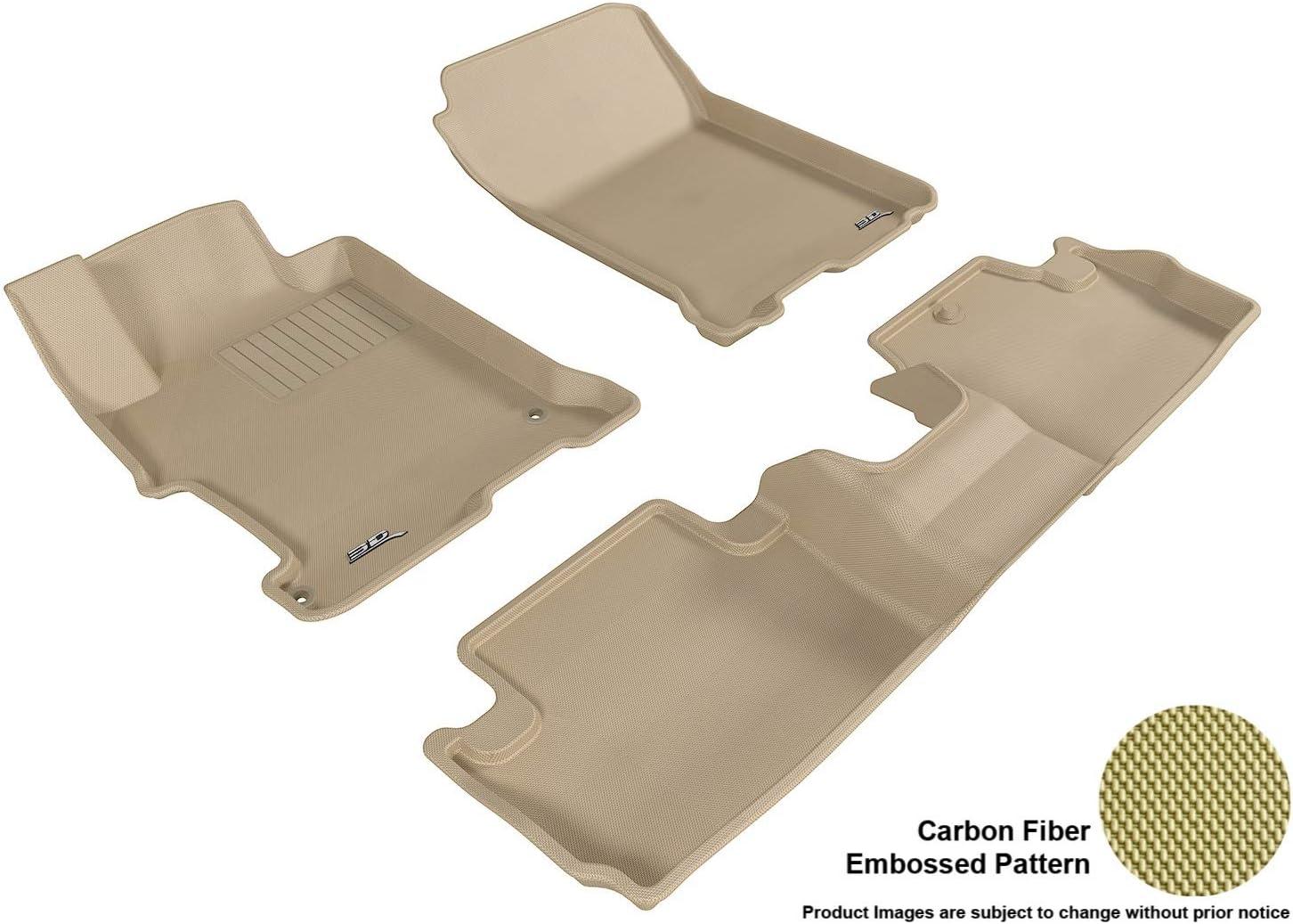 3D MAXpider Complete Set Custom Fit All-Weather Floor Mat for Select Honda Accord Models Kagu Rubber Black