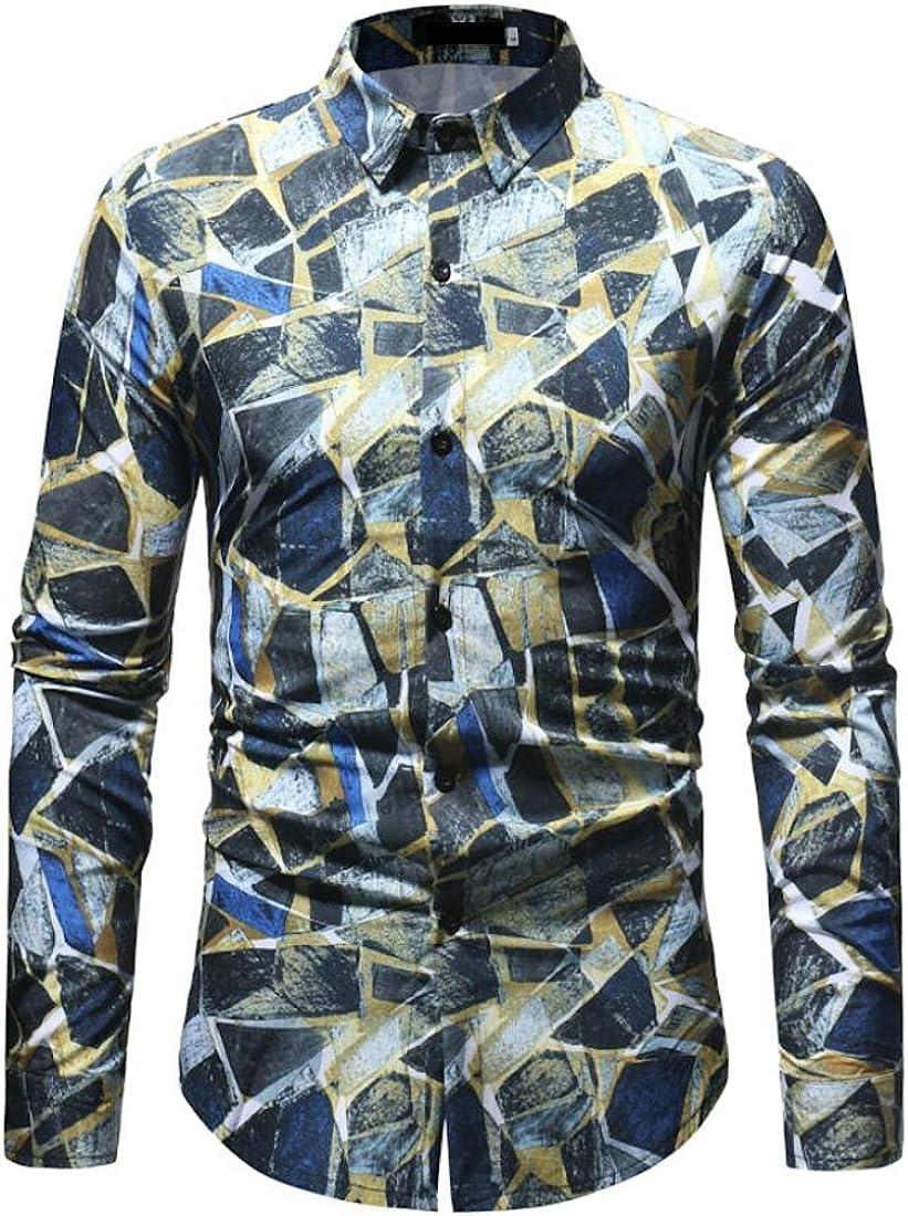 Wan-T Mens Stylish Patterns Long Sleeve Slim Fit Button Down Dress Shirts