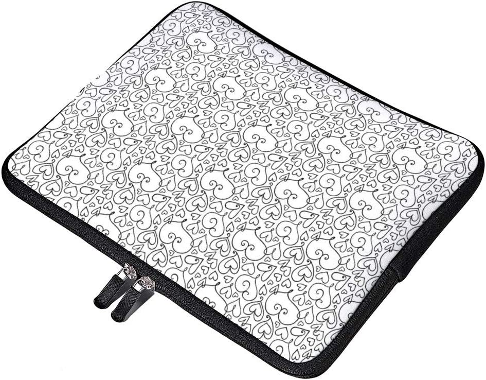 Color Your Own Whimsical Hearts Pattern Laptop Sleeve Water Repellent Neoprene Bag Protective Case Cover Compatible with MacBook Pro//Asus//Dell//Hp//Sony//Acer 13 Inch