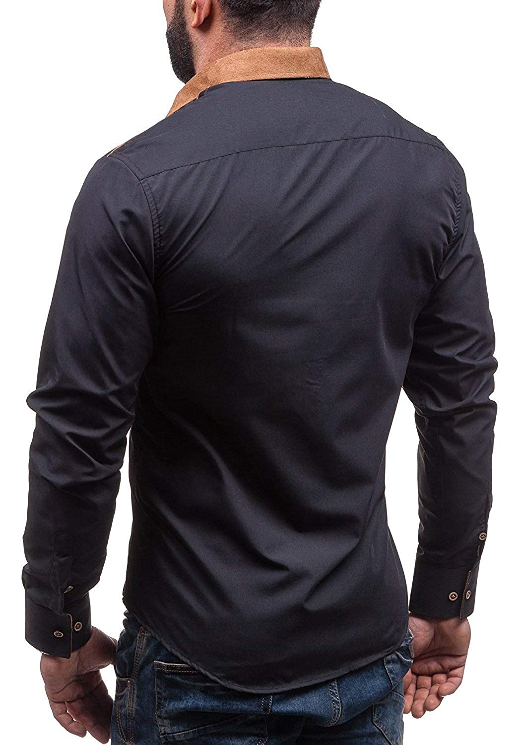 YUNY Mens Topstitching Long-Sleeve Fit Button Down Pure Color Shirt Black 3XL