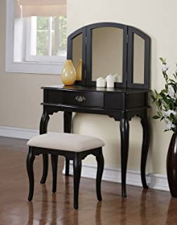 Great 3 Pc Makeup Vanity Set With Drawer, Stool And Mirror In Black Finish