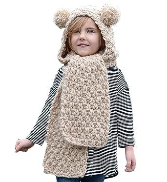 Amazon Com Dreamsoar Kids Hooded Scarf Hats Winter Wool Knitted