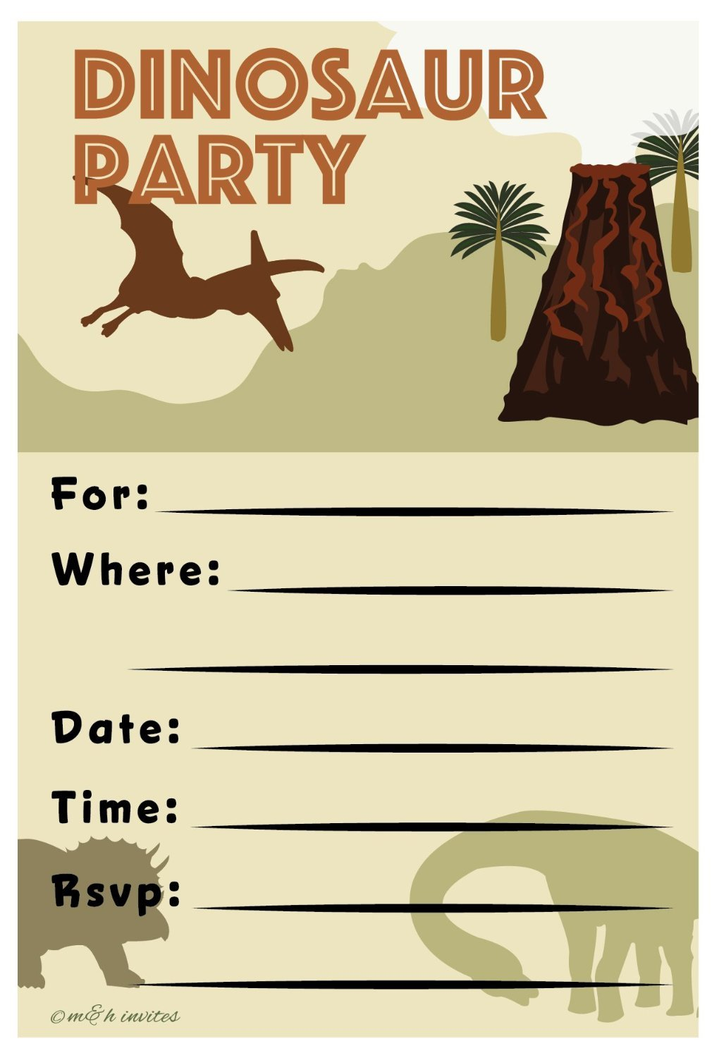 Amazon.com: Dinosaur Invitations Birthday Party - Fill In Style (20 ...
