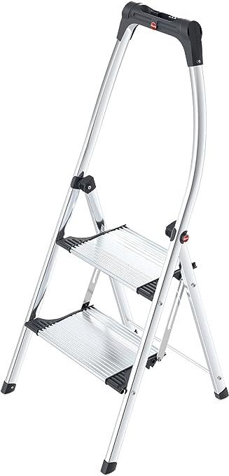 Hailo 4302-301 - escalera plegable LivingStep Comfort Plus, 2 pasos, barra de seguridad alta, un agarre óptimo en diferentes pisos, capacidad de carga de hasta 150 kg,: Amazon.es: Hogar