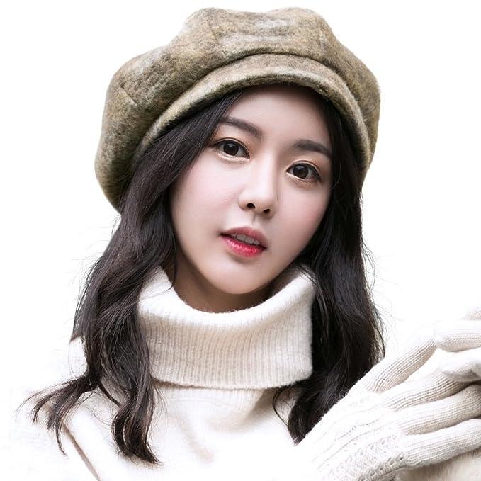 SIGGI Womens Wool Winter Cap Cold Weather Newsboy Hat Ladies Berets Visor  Cloche Hat Lined 91f0cce8054