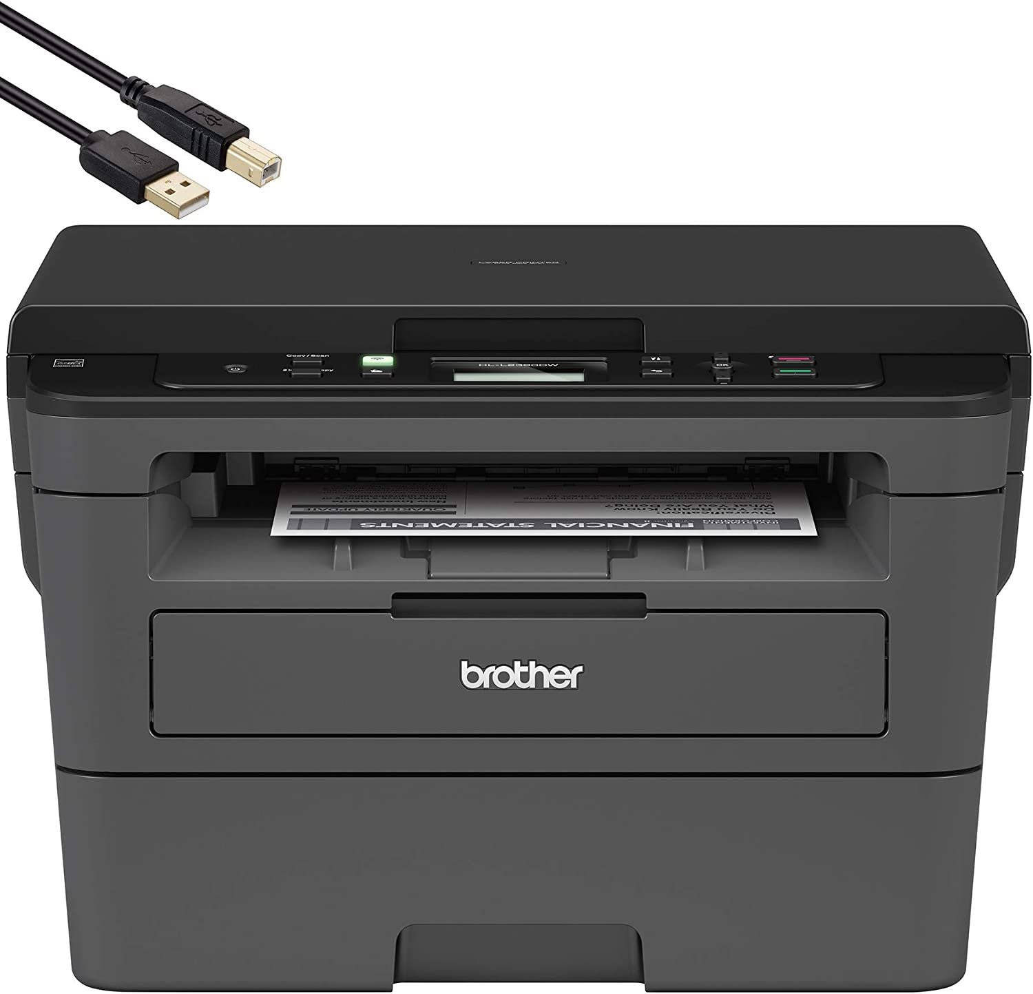 Brother Compact Monochrome Laser Printer - HLL2390DW - Convenient Business Office Flatbed Copy & Scan, Wireless Printing, Duplex Two-Sided Printing for Business Office - BROAGE 5 FT USB Printer Cable