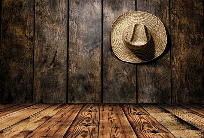 LFEEY 10x10ft Black Cowboy Hat Photography Backdrop Western Style Grunge Wooden Board Wall Photography Background Cowboy Boots Cool Boys Girls Men Adutls Photo Studio Props