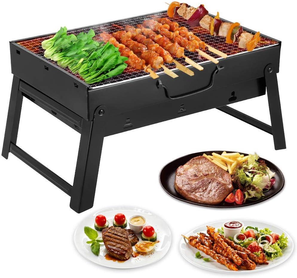 Mbuynow BBQ Barbecue à Charbon en Acier Inoxydable Pliable Four Grille de Cuisson Démontable pour Barbecue de Jardin extérieur Camping et Pique Nique
