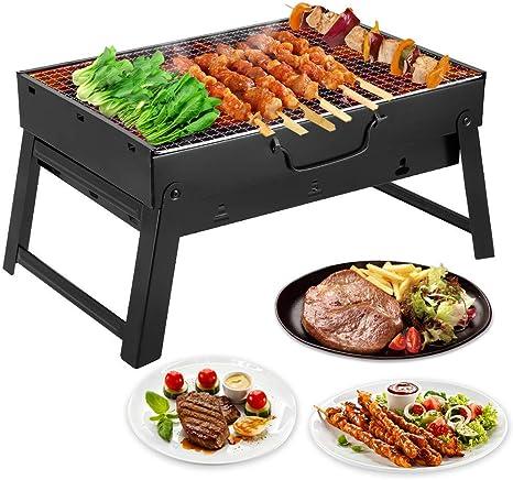Mbuynow Barbacoa de Carbón Portátil con Parrillas y Pies Plegables para BBQ, Picnic, Acampadas, Camping (para 4-6 Persona)