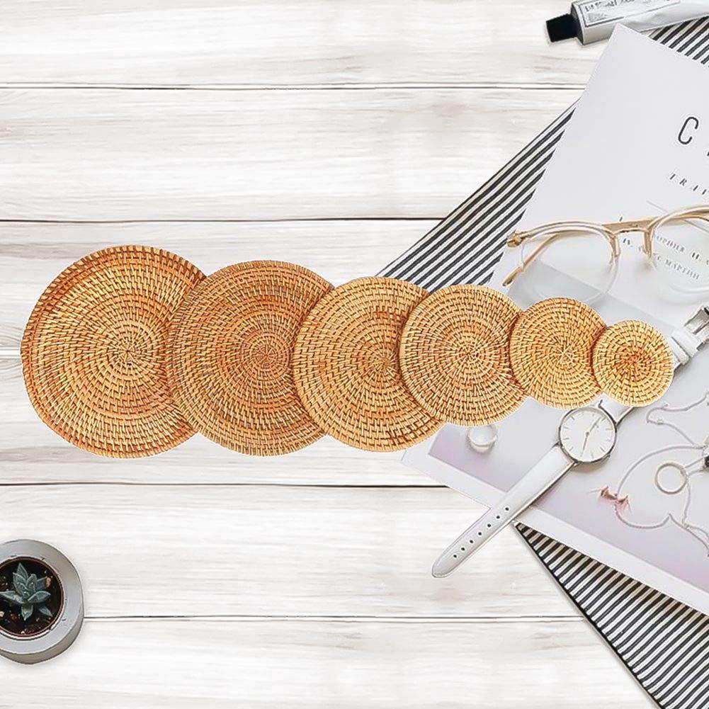 Manteles individuales redondos de rat/án hecho a mano Xiangscz rat/án 2XL alfombrilla de bamb/ú para maceta