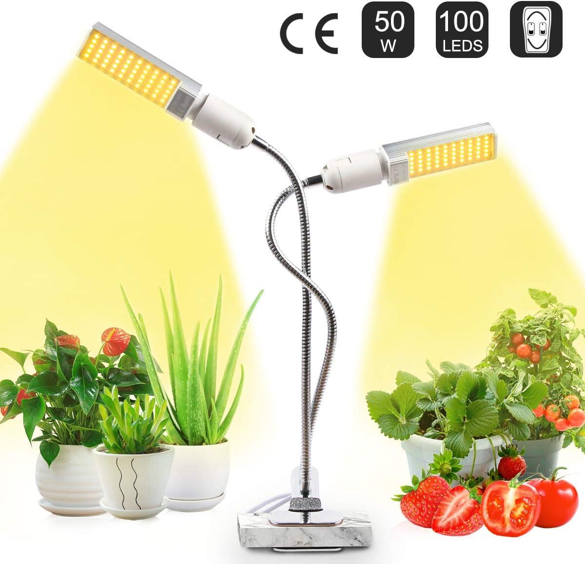 JEVDES Lámpara de Plantas, 50W Planta de luz para Plantas de Interior, LED Lámpara de Crecimiento de Planta de Espectro Completo Similar al Sol para plántulas Floración fructífera