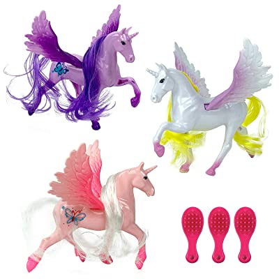 12 Pack Plastic 4 Inch Unicorn Figures | Mini Toy Unicorns