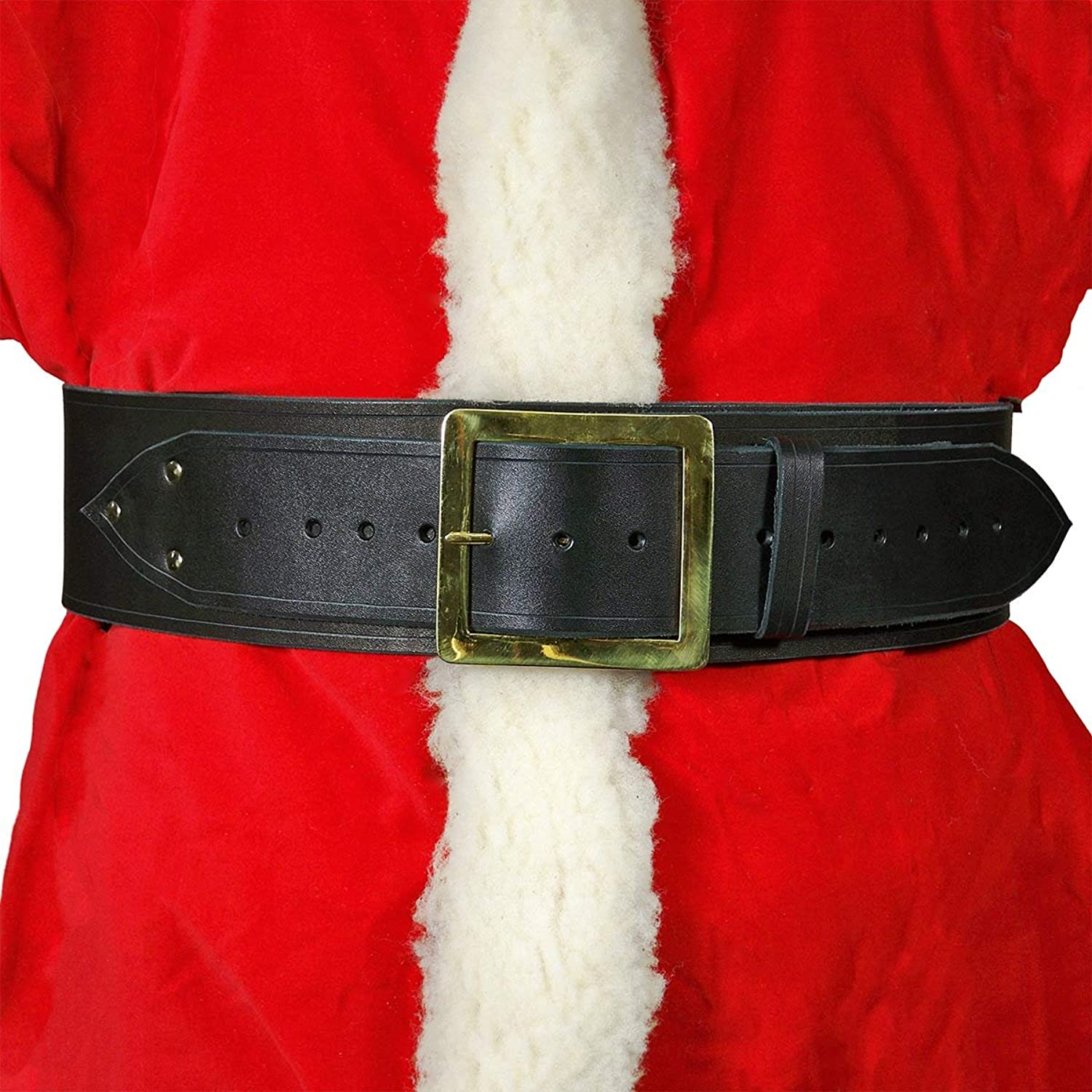 Santa Claus Wide Black Leather Belt - DeluxeAdultCostumes.com
