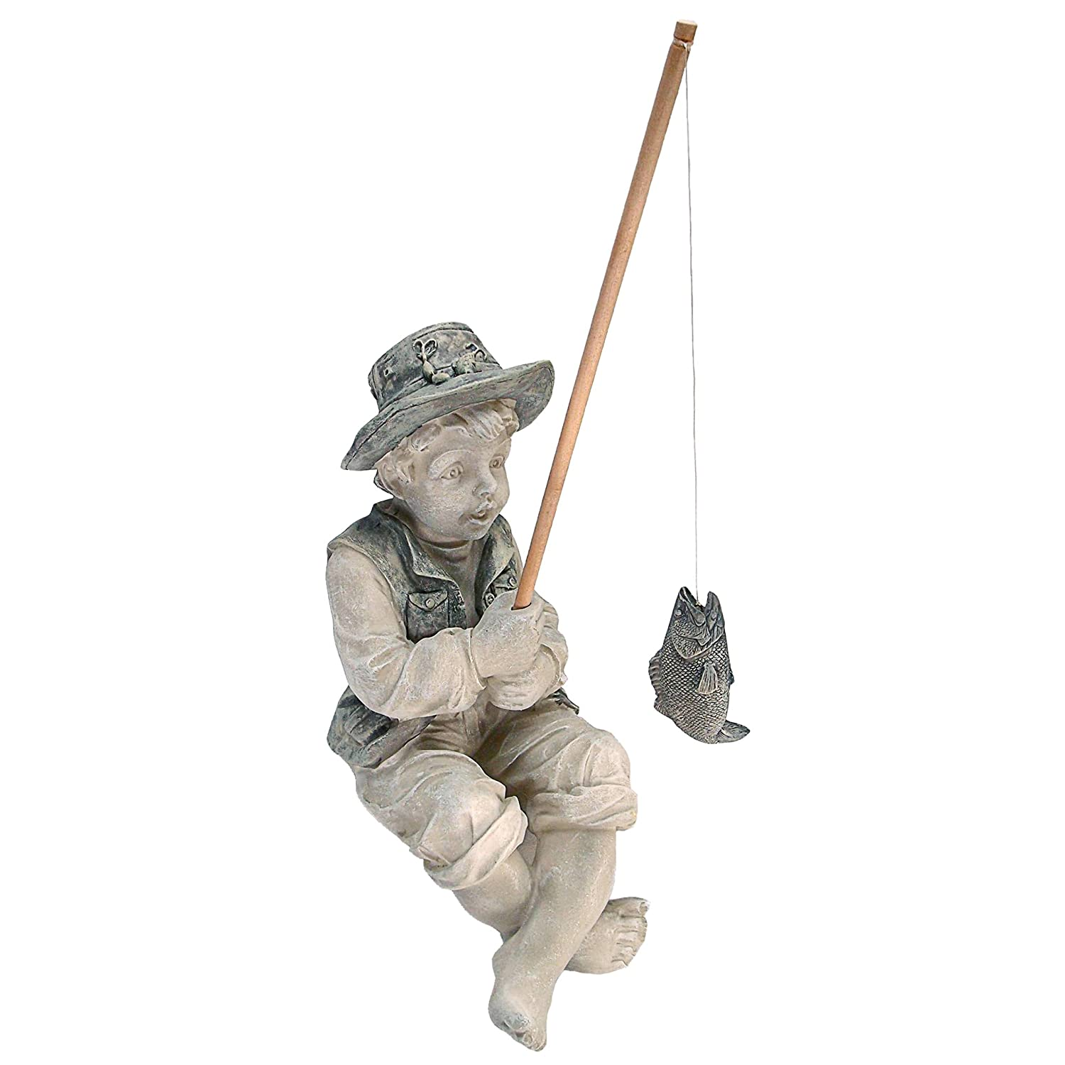 Boy fishing statue sculpture garden art garden decor patio for Figurine decoration jardin