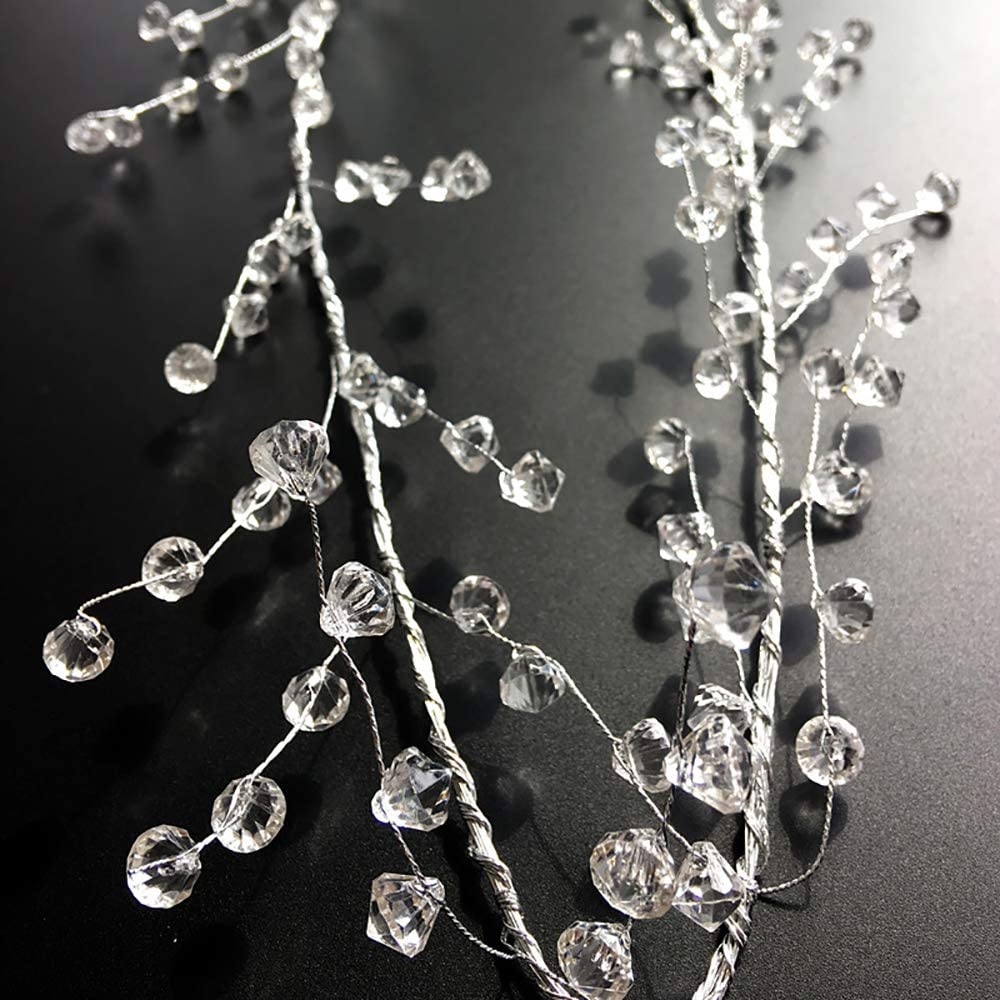 EORTA 94 Inch Crystal Beaded Garland Clear Diamond Branch Chandelier Twinkle Acrylic Ice Silver Wire String Wreath Party Decoration for Wedding DIY Craft Jewelry Making Diamond Pattern