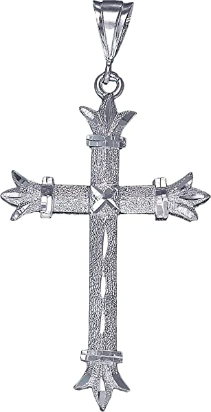 Large Sterling Silver Crucifix Cross with Jesus Pendant Necklace 2.2 Inch 4 Gram