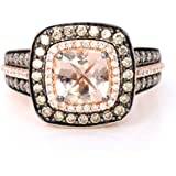 LeVian Ring Peach Morganite Chocolate and Vanilla Diamonds 1 3/4 cttw 14K Rose Gold New with tag