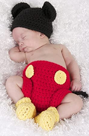 Mickey Mouse Newborn Baby Girl Boy Crochet Knit Costume Photo