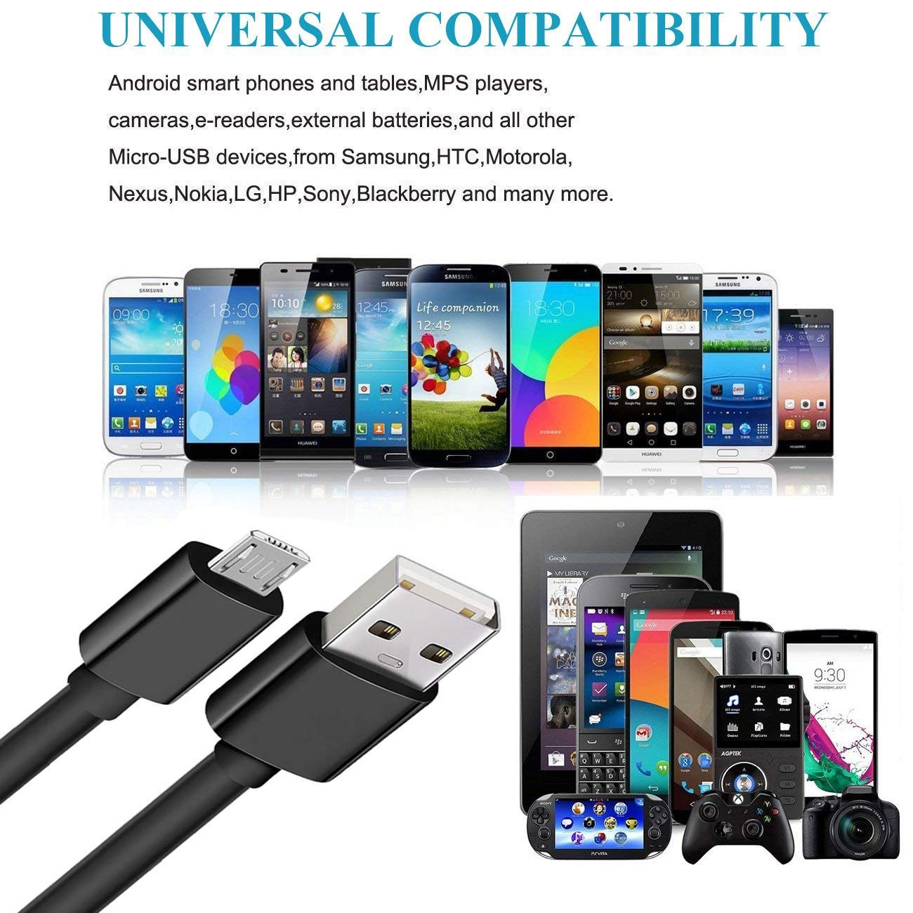 Micro USB Cord for Samsung Galaxy S7 S6 Edge LG Phone Hoiwang Long Android Charger Cable Fast Charge Micro USB Cable 2.0 10FT 2 Pack Quick Charging Charging Cable for Kindle Fire,Tablet,PS4,HTC