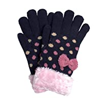 [アリサナ]arisana 手袋 キッズ ニット グローブ 女の子 ジュニア 日本製 裏起毛 ドット リボン ネイビー フリーサイズ
