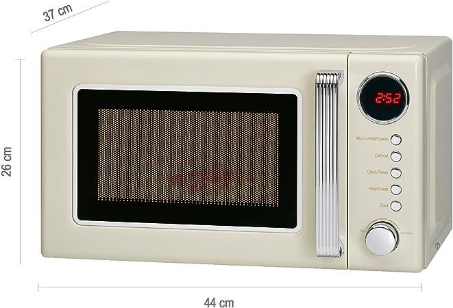 Microondas con grill 20 litros retro estilo vintage, 700/1000W, 5 ...