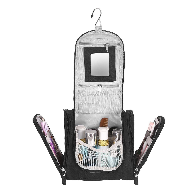 Borsa da Toilette Appendibile, Beauty Case da Viaggio Impermeabile, Borsa Toilette porta Cosmetici Trucchi con Specchio Staccabile per Uomo e Donna, 25x21x10 cm, Nero