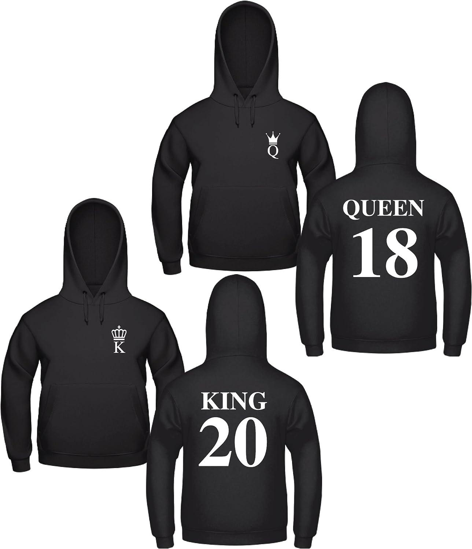 King Queen Pullover Pärchen Set Schwarz Zwei Hoodies mit Wunschnummer Geschenk