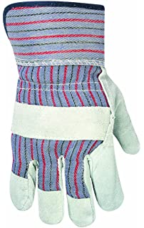 Safety Cuff Pack of 12 Large Galeton 2114-L Heavy Shoulder Leather Palm Gloves Green Stripe