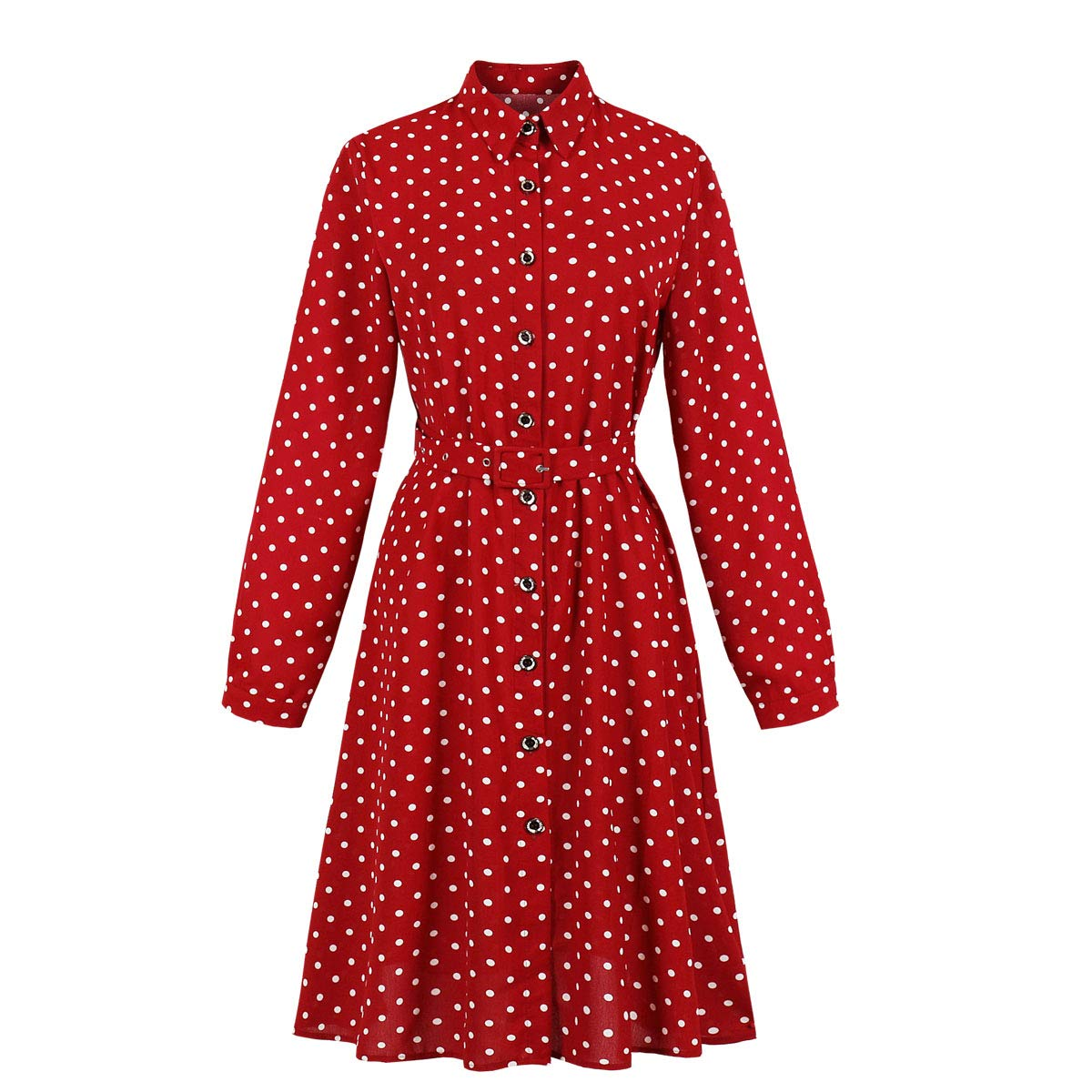 Rockabilly Dresses | Rockabilly Clothing | Viva Las Vegas Wellwits Womens Long Sleeves Polka Dots Button Down Vintage Shirt Dress $21.98 AT vintagedancer.com