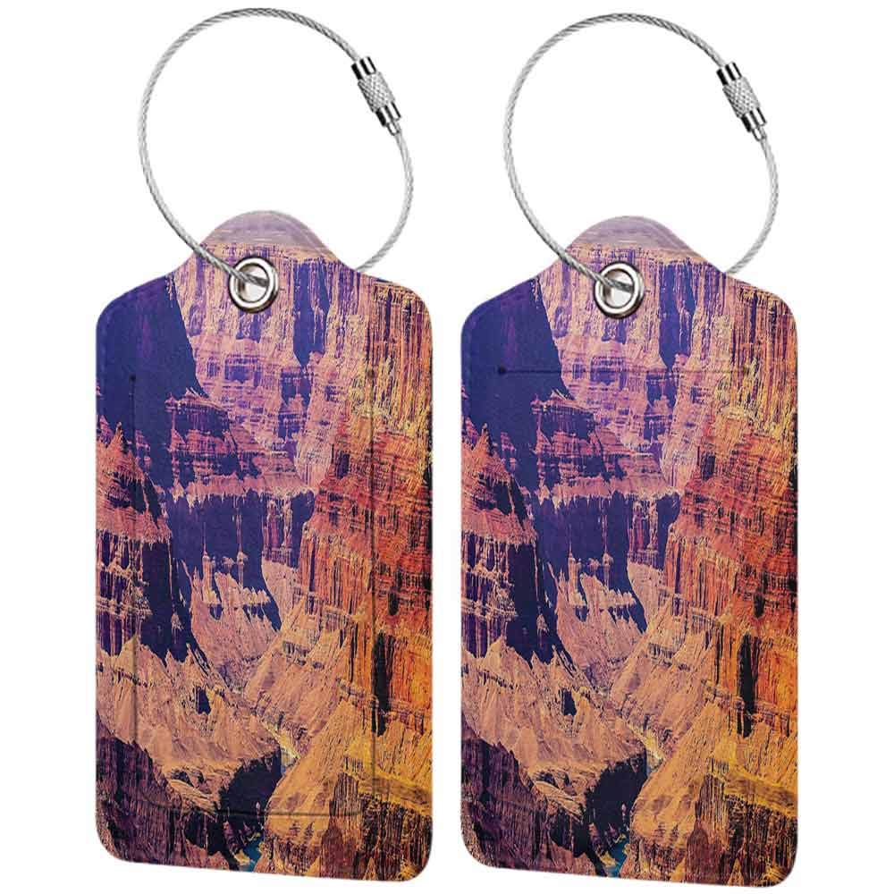 Printed luggage tag House Decor Grand Canyon in Arizona with Base Elevations North American Sublime Tribal Landscape Protect personal privacy Brown W2.7 x L4.6
