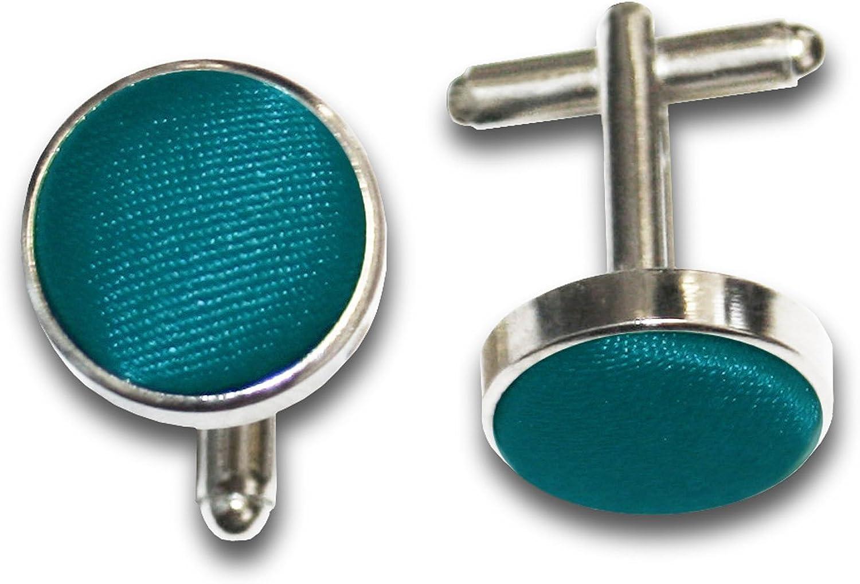 DQT Men Plain Satin Fabric Inlay Wedding Cufflinks 34 Colours Available